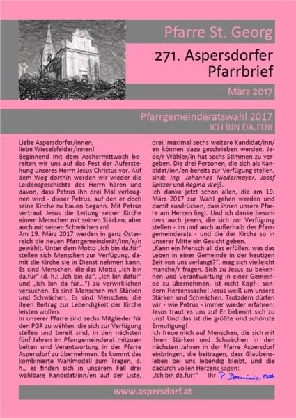 271. Aspersdorfer Pfarrbrief | März 2017