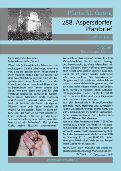 288. Aspersdorfer Pfarrbrief | Oktober 2018