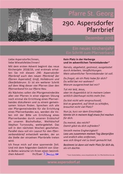 290. Aspersdorfer Pfarrbrief | Dezember 2018