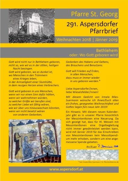 291. Aspersdorfer Pfarrbrief | Jänner 2019