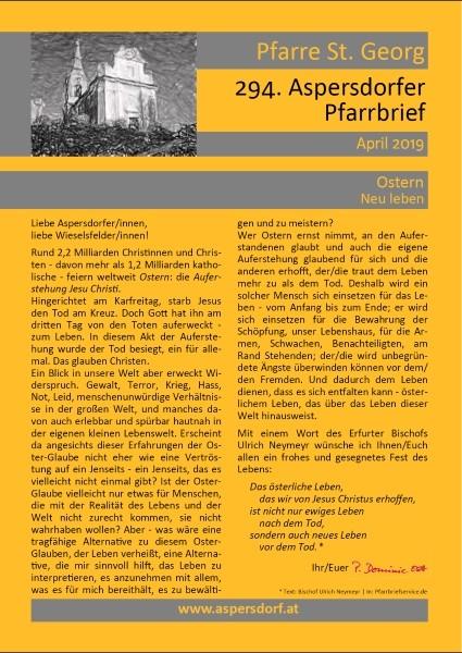 294. Aspersdorfer Pfarrbrief | April 2019
