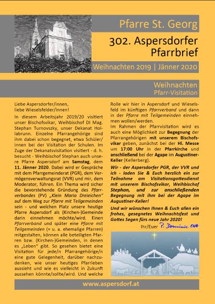 302. Aspersdorfer Pfarrbrief | Jänner 2020