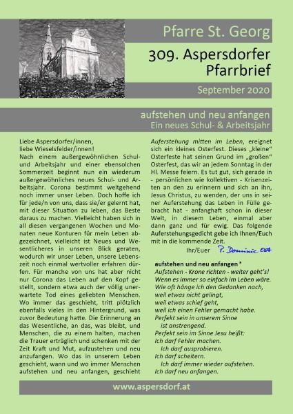 309. Aspersdorfer Pfarrbrief | September 2020