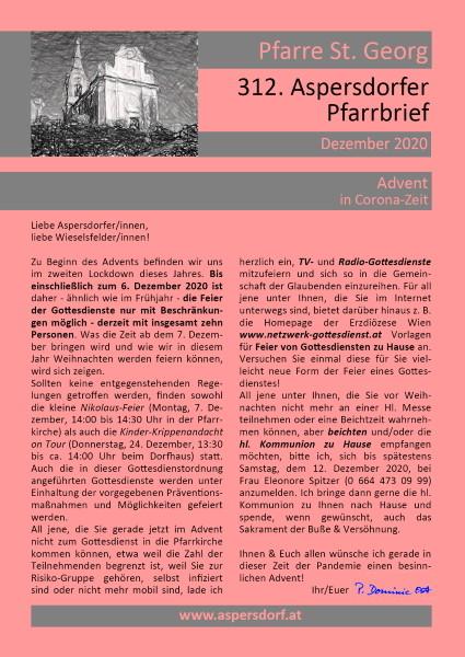 312. Aspersdorfer Pfarrbrief | Dezember 2020